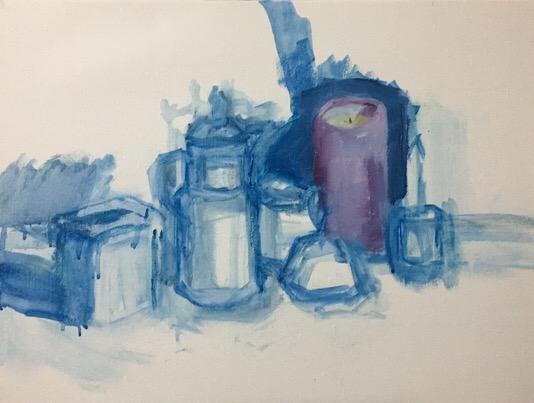 """Geoff Watson, """"Old Coffee Pot and Friends,"""" in progress, oil on linen, 18"""" x 24,"""" 2017."""