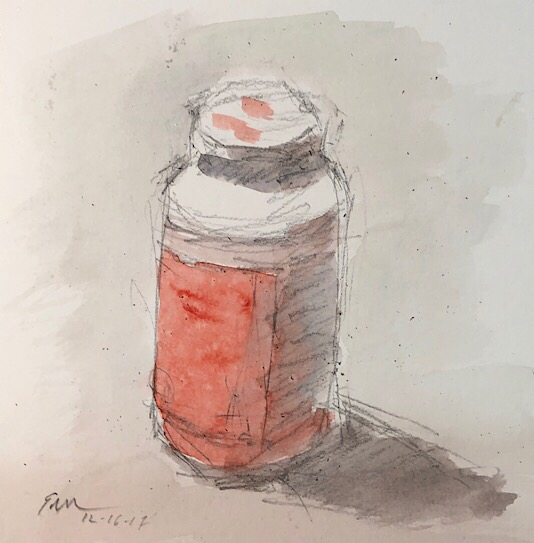 "Geoff Watson, ""Tylenol,"" watercolor sketch on paper, 6"" x 6,"" 2017."