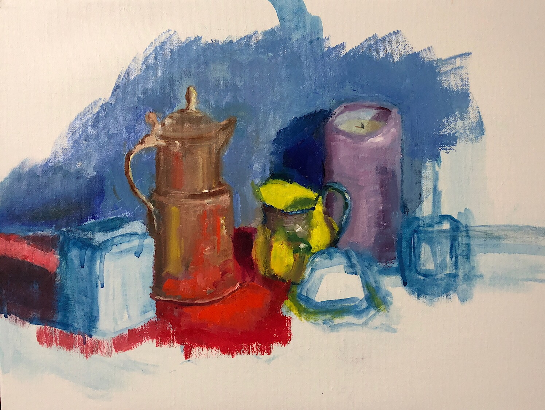 "Geoff Watson, ""Pot and pitcher,"" work in progress, oil on panel, 18"" x 24,"" 2017."