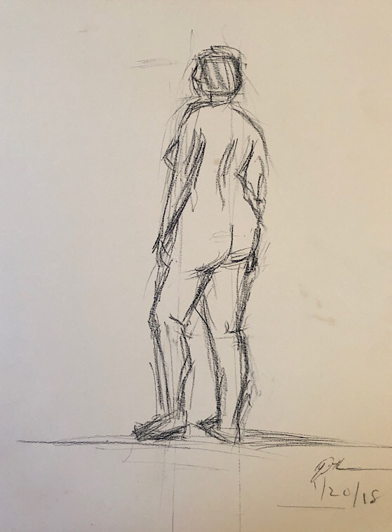 "Geoff Watson, ""Figure sketch using lines,"" charcoal on paper, 12"" x 16,"" 2018."