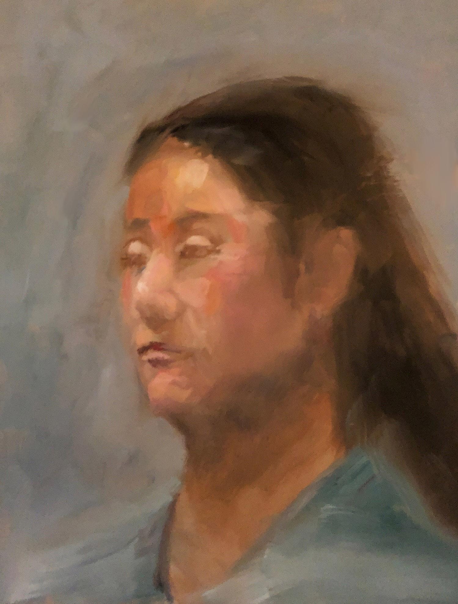 "Geoff Watson, ""Kuniko,"" oil on panel, 11"" x 14,"" 2018."