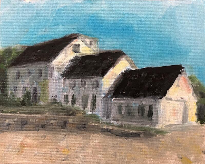 "Geoff Watson, ""Telescoping house,"" oil on canvas panel, 9"" x 12,"" 2018."