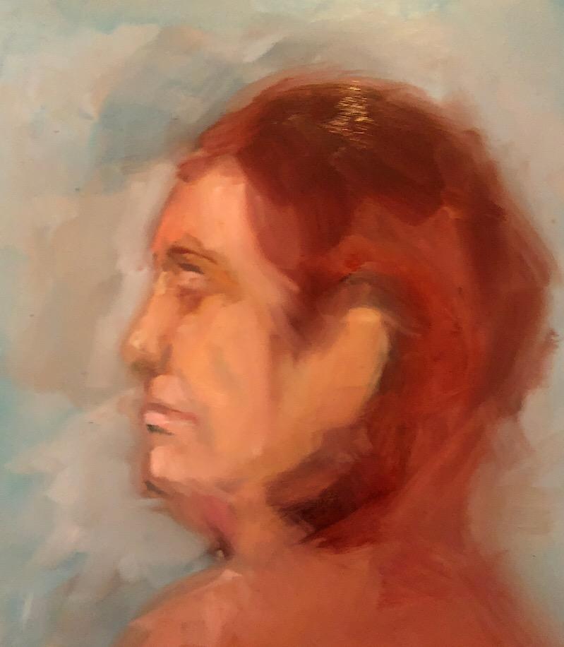 """Geoff Watson, """"Shoshana, in progress,"""" oil on panel, 11"""" x 14,"""" 2018."""