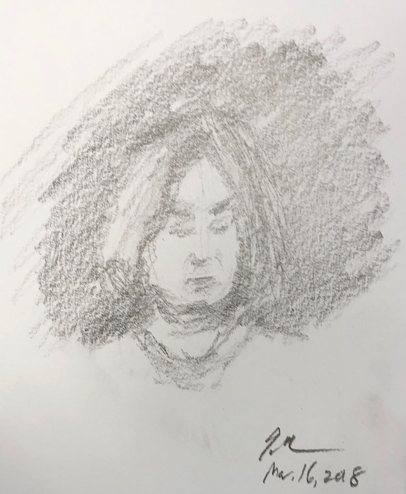 "Geoff Watson, ""Sketch of a woman,"" graphite on paper, about 5"" x 7,"" 2018."