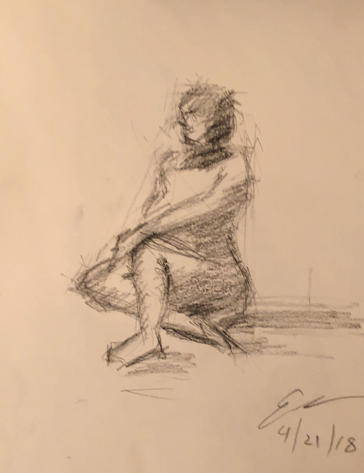 """Geoff Watson, """"Emily with a secret message,"""" charcoal on paper, about 9"""" x 12,"""" 2018."""