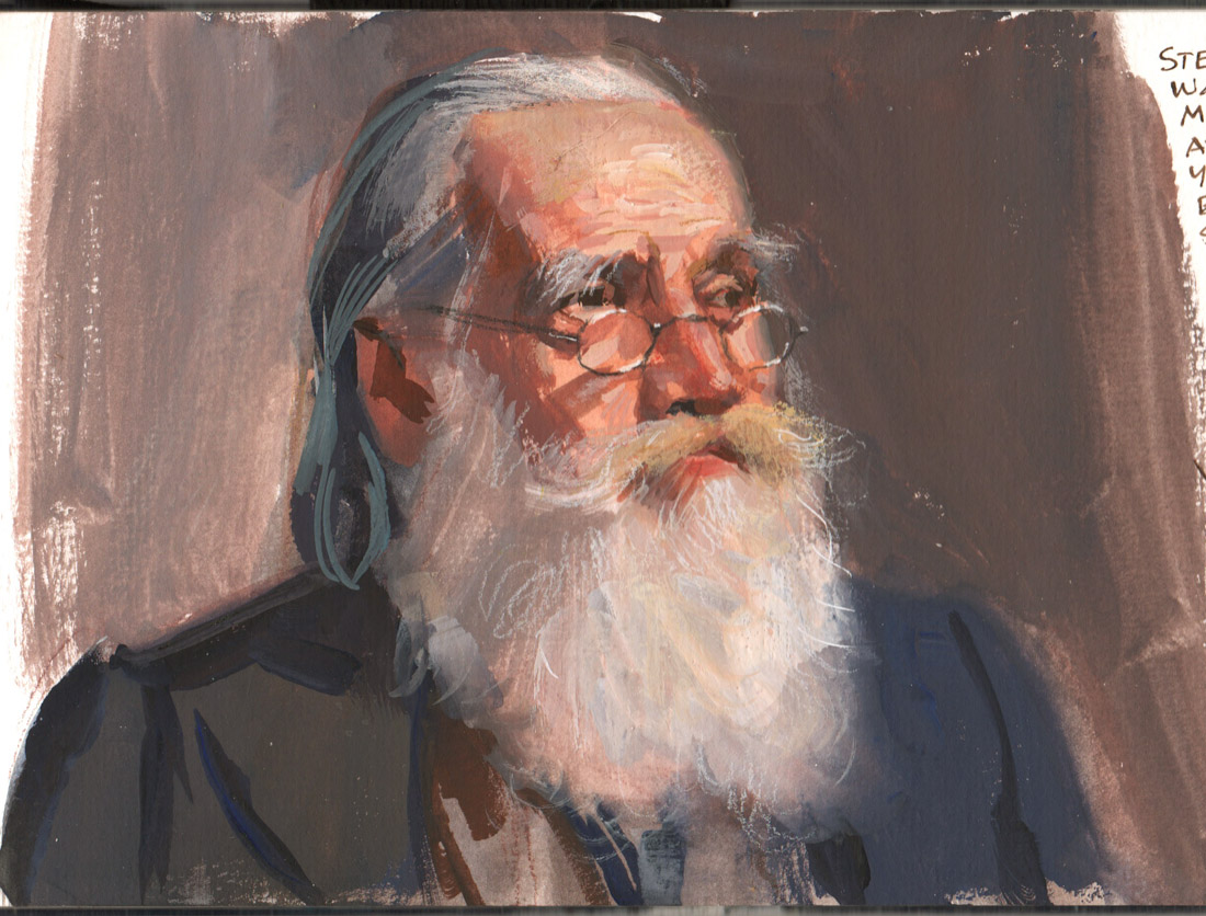 "James Gurney, ""Portrait Demo at the Yellow Barn Workshop,"" gouache, watercolor pencil, and white pencil on paper, 2018."