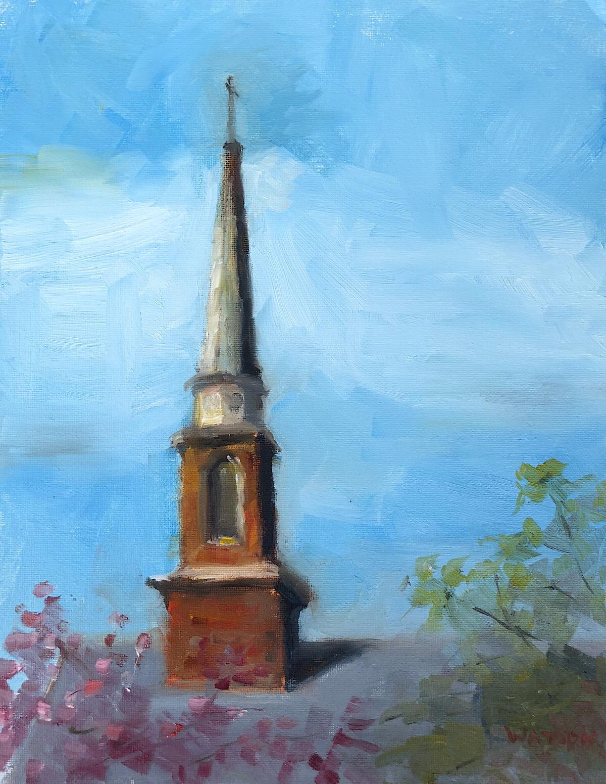"Geoff Watson, ""Concord-St. Andrew's United Methodist Church,"" oil on canvas panel, 11"" x 14,"" 2018."