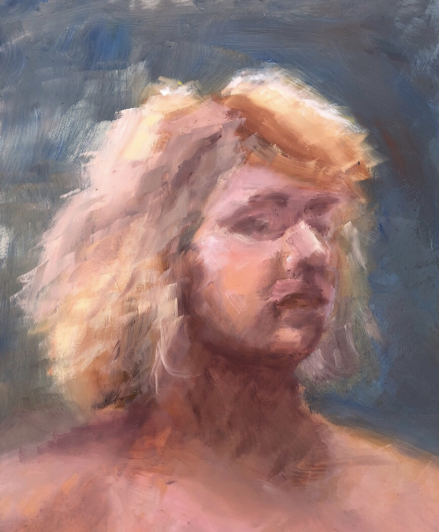 "Geoff Watson, ""Blonde,"" oil on panel, 11"" x 14,"" 2018."