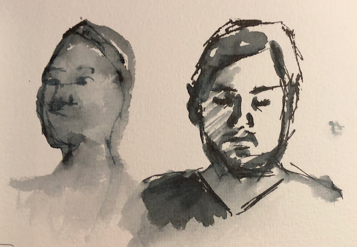 "Geoff Watson, ""Heads,"" ink wash on paper, about 4"" x 6,"" 2018."