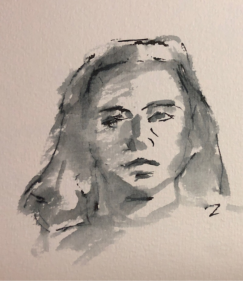 "Geoff Watson, ""Head,"" ink wash on paper, 5"" x 7,"" 2018."