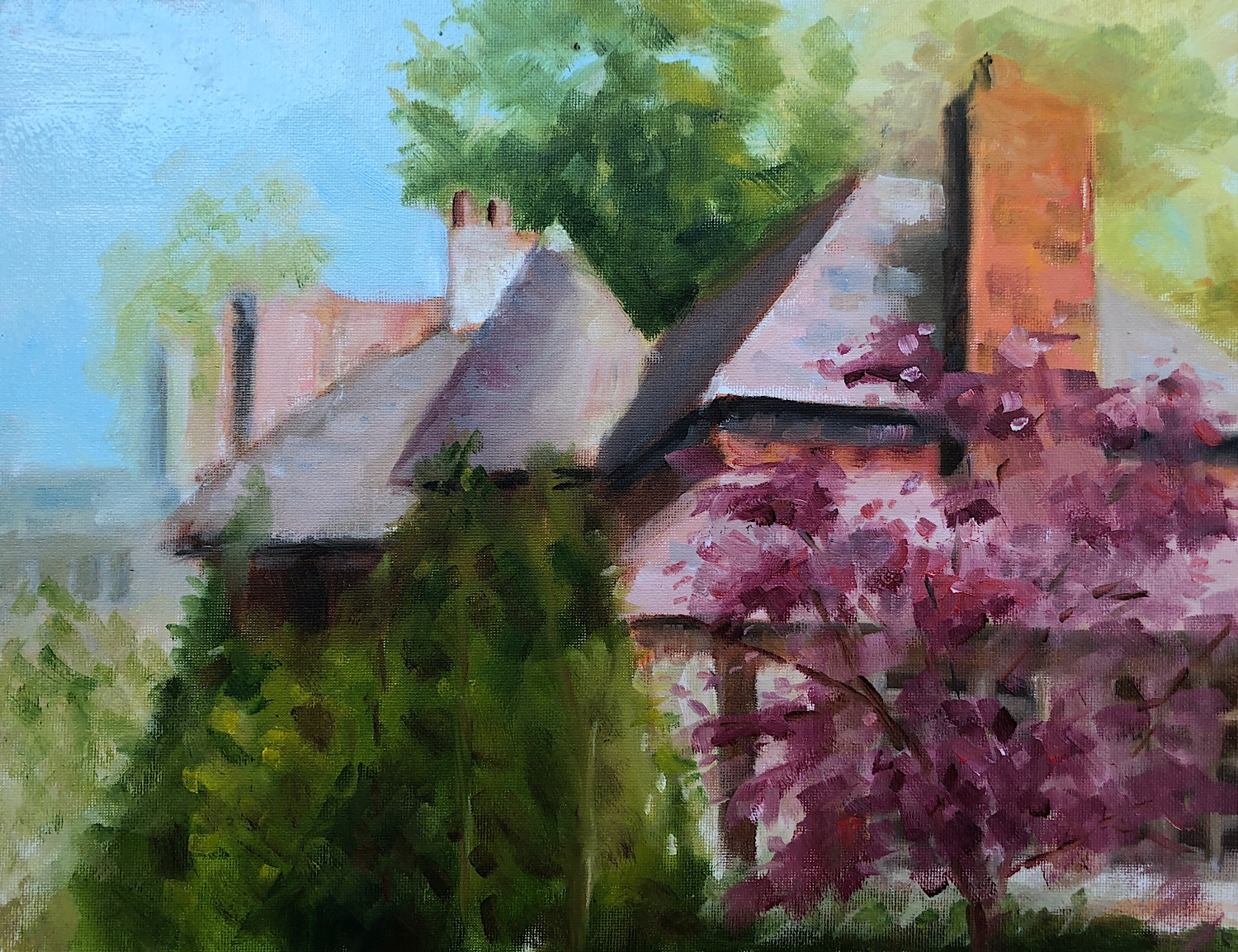 """Geoff Watson, """"House in Wesley Heights,"""" oil on canvas panel, 11"""" x 14,"""" 2018."""