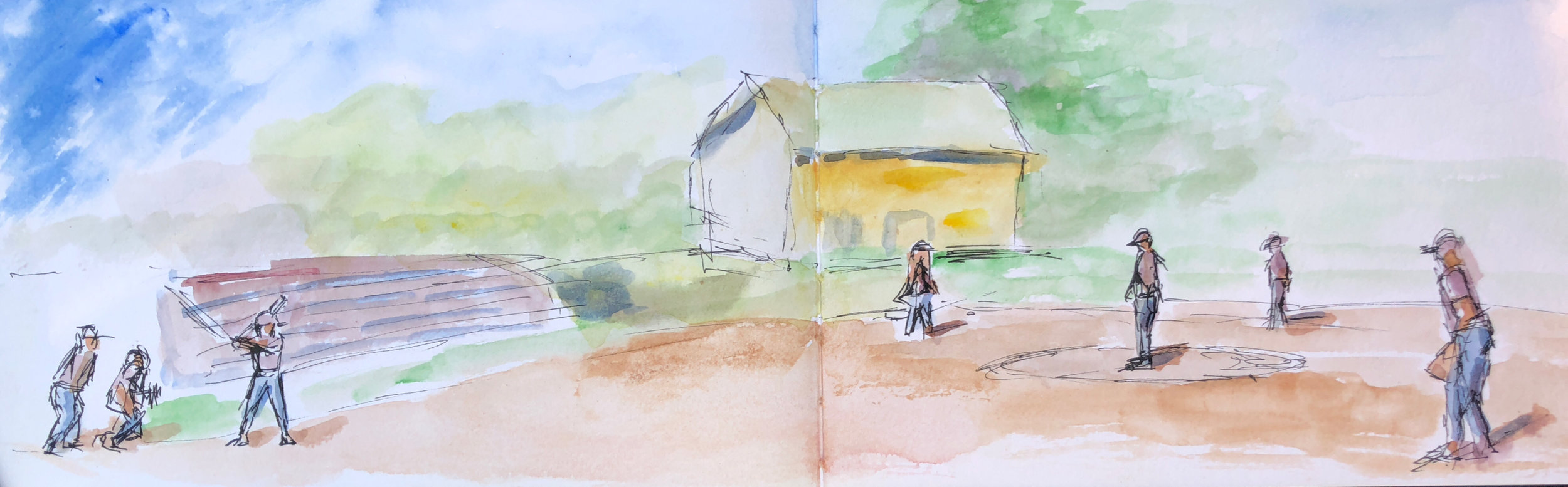 """Geoff Watson, """"Softball field,"""" ink and watercolor on paper, 5"""" x 16,"""" 2018."""