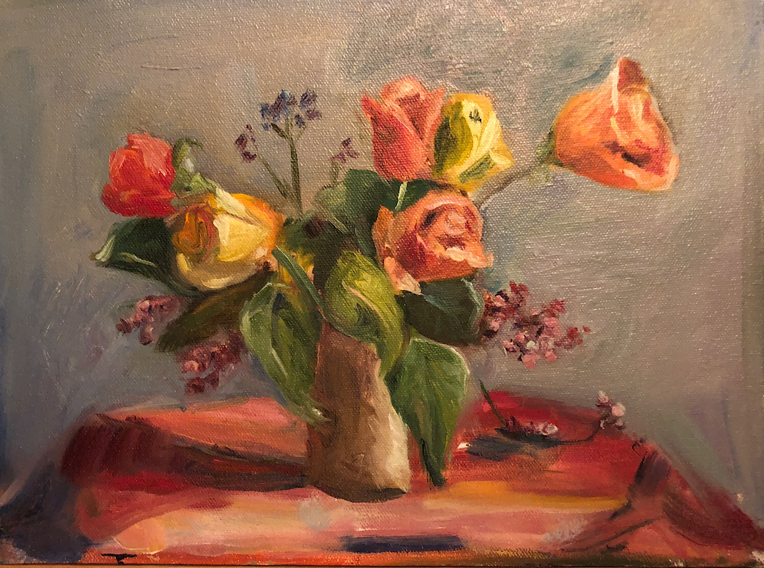 "Beth Watson, ""Roses,"" oil on canvas, 9"" x 12."""