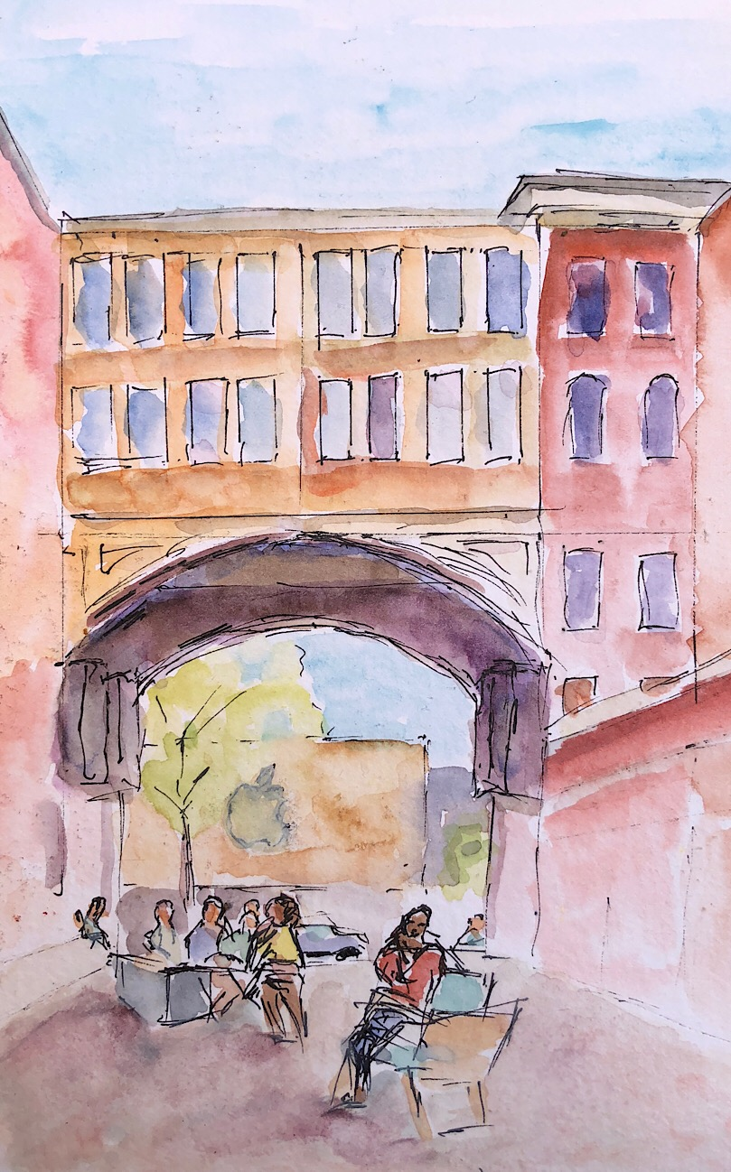 "Geoff Watson, ""Bethesda Pedestrian Mall,"" ink and gouache on paper, about 5"" x 8,"" 2018."
