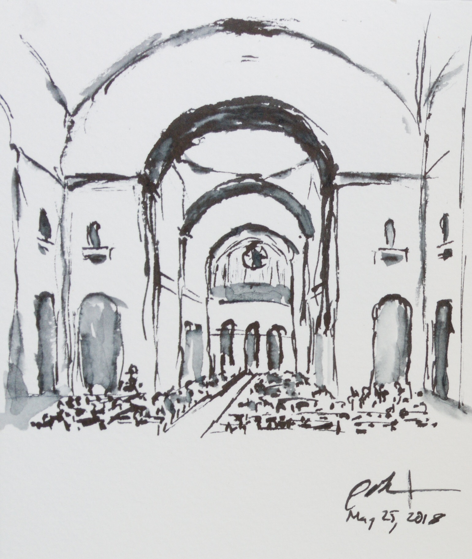 """Geoff Watson, """"Commencement in the Basilica,"""" ink wash on paper, about 4"""" x 5,"""" 2018."""
