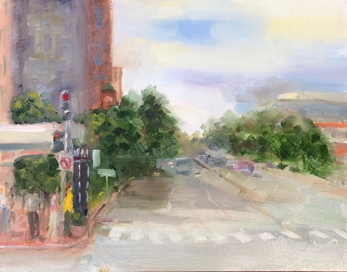 """Geoff Watson, """"Friendship Heights Metro,"""" oil on panel, 11"""" x 14,"""" 2018."""