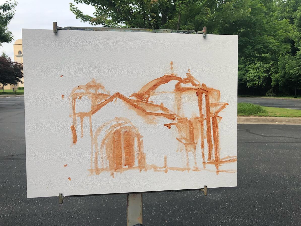 """Geoff Watson, """"Saints Peter & Paul Antiochian Orthodox Christian Church,"""" in progress, oil sketch on panel, 11"""" x 14,"""" 2018."""