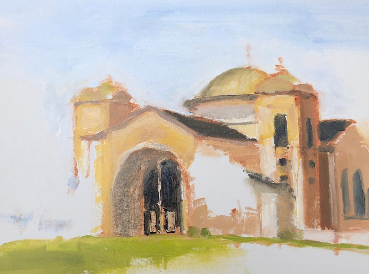 "Geoff Watson, ""Saints Peter & Paul Antiochian Orthodox Christian Church,"" in progress, oil on panel, 11"" x 14,"" 2018."