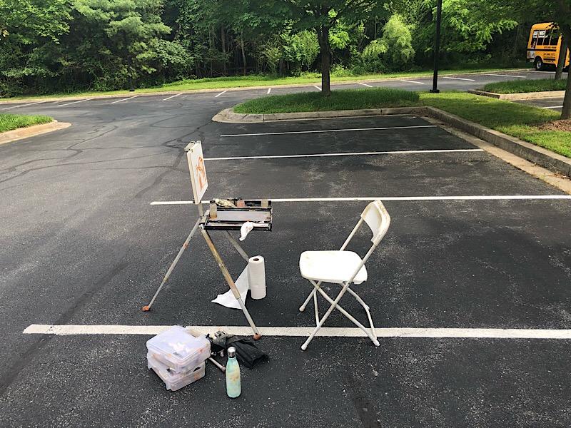 "Geoff Watson, ""My plein air setup,"" iPhone photo, 2018."