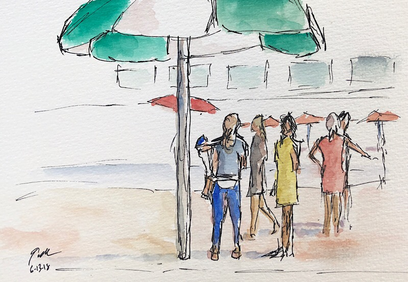 """Geoff Watson, """"Women at the pool,"""" ink and watercolor on paper, 5"""" x 8,"""" 2018."""