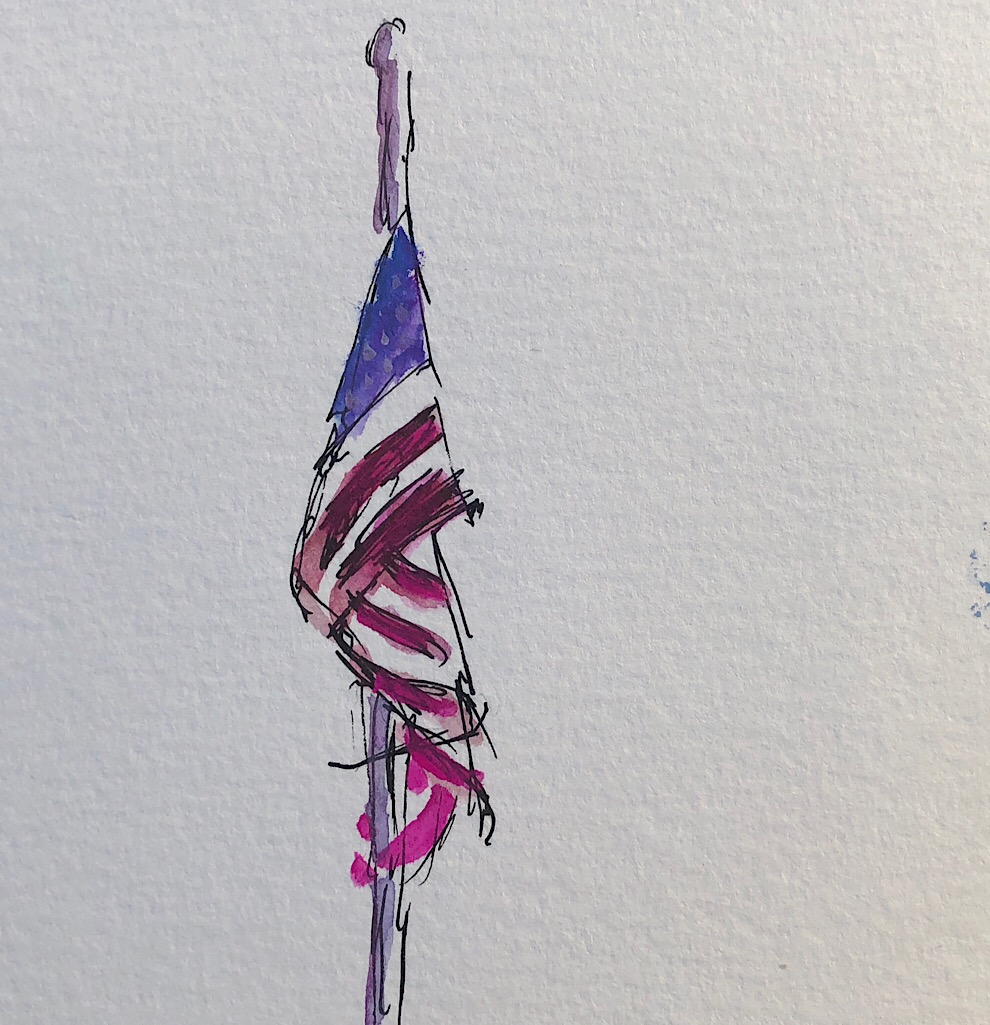 "Geoff Watson, ""Stars and Stripes,"" gouache and ink on paper, about 4"" x 4,"" 2018."