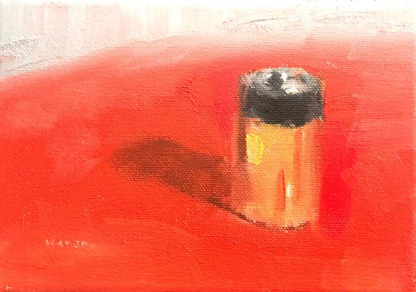 """Geoff Watson, """"Battery,"""" oil on canvas, 5"""" x 7,"""" 2018."""
