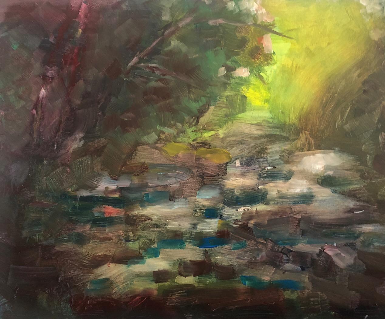 """Geoff Watson, """"Little Falls Creek,"""" in progress, oil on panel, 11"""" x 14,"""" 2018."""