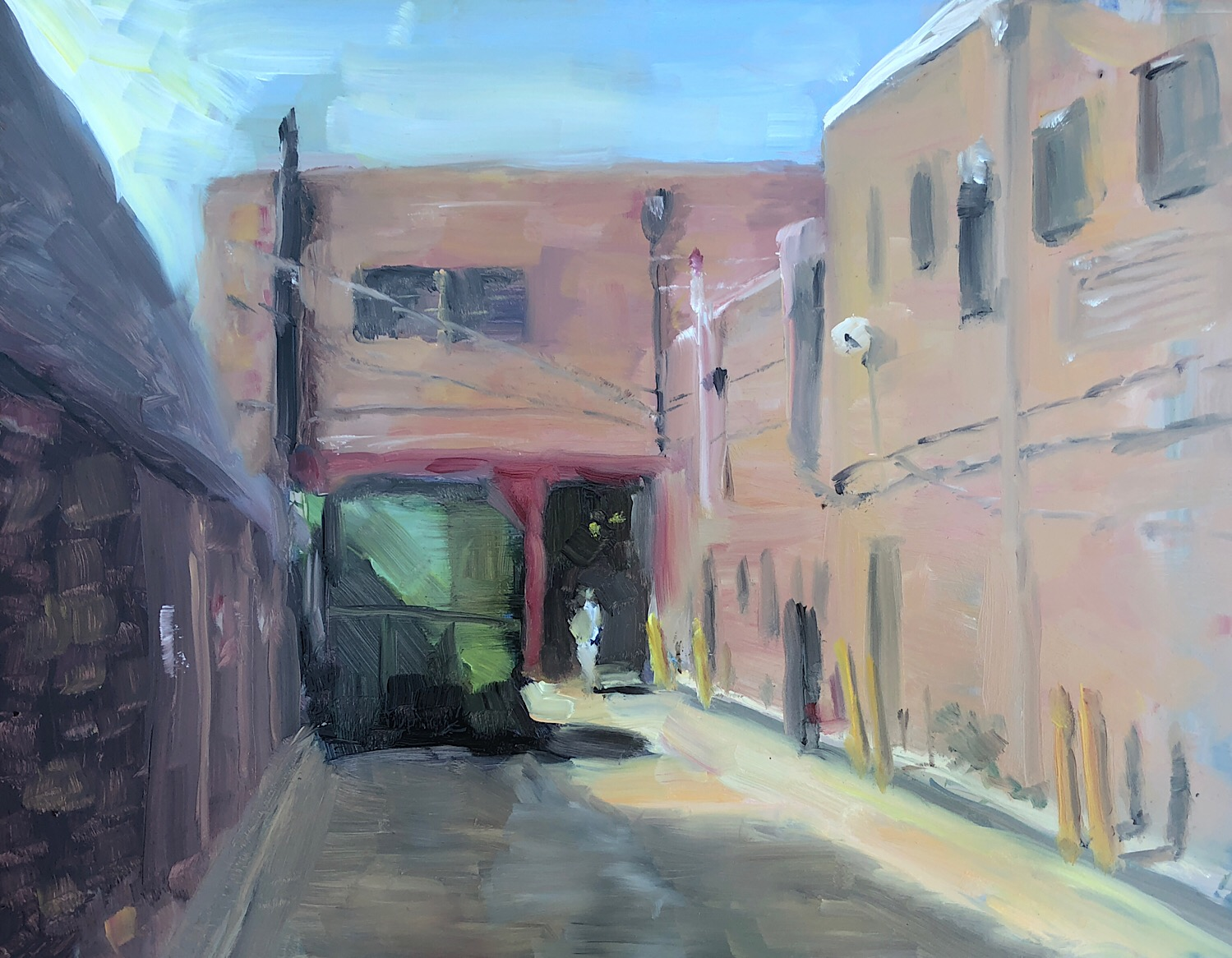 "Geoff Watson, ""At the dumpster,"" oil on panel, 11"" x 14,"" 2018."