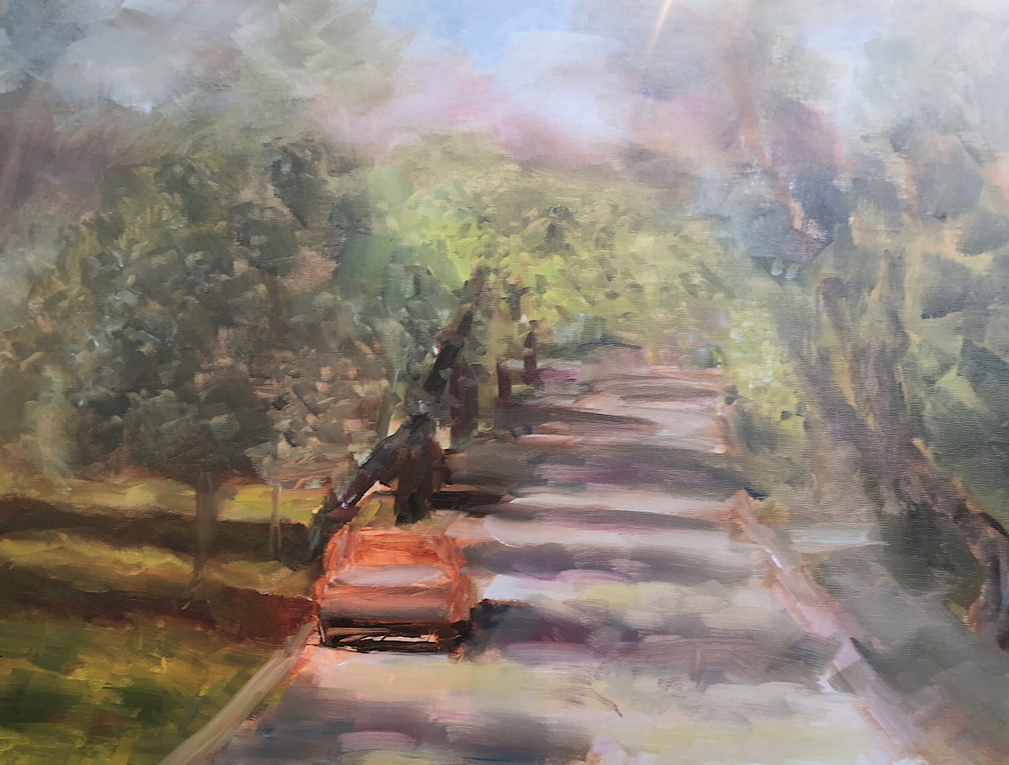 "Geoff Watson, ""Kenwood Avenue - in progress,"" oil on linen, 18"" x 24,"" 2018."