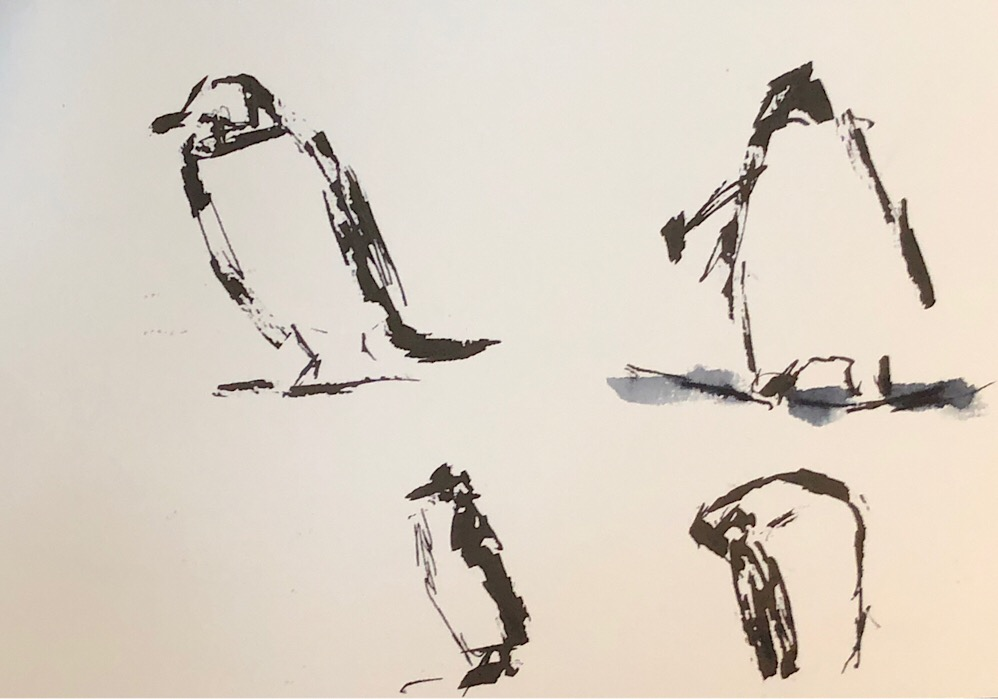 "Geoff Watson, ""Penguins,"" ink on paper, 5"" x 8,"" 2018."