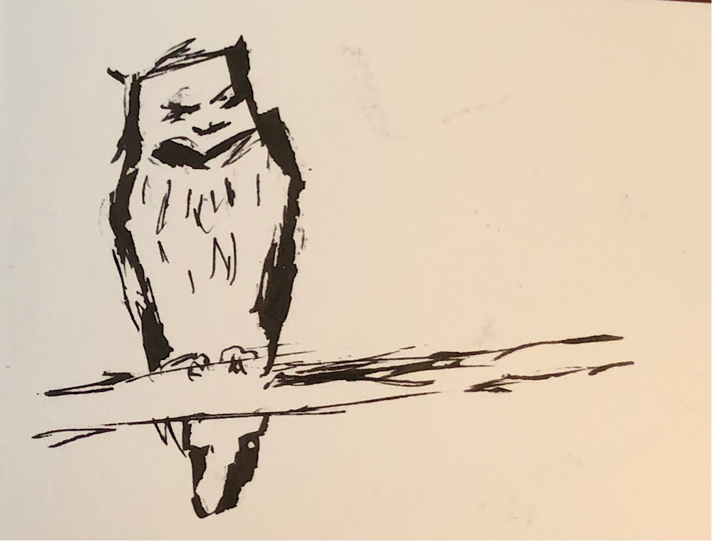 """Geoff Watson, """"Owl,"""" ink on paper, 5"""" x 8,"""" 2018."""