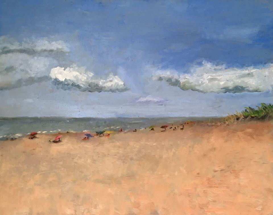 """Geoff Watson, """"Rehoboth Beach,"""" oil on panel, 11"""" x 14,"""" 2016."""