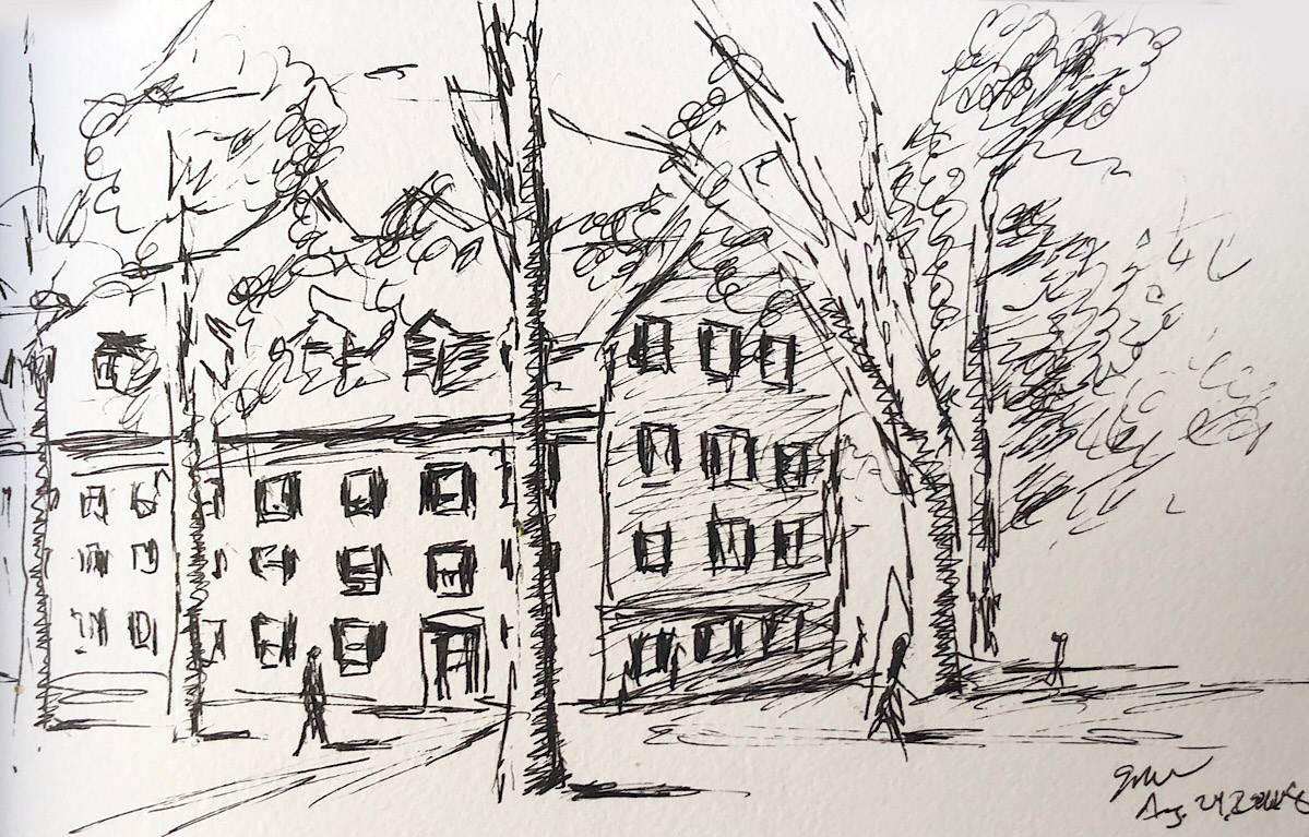 "Geoff Watson, ""McClellan Hall, Yale,"" ink on paper, 5"" x 8,"" 2018."