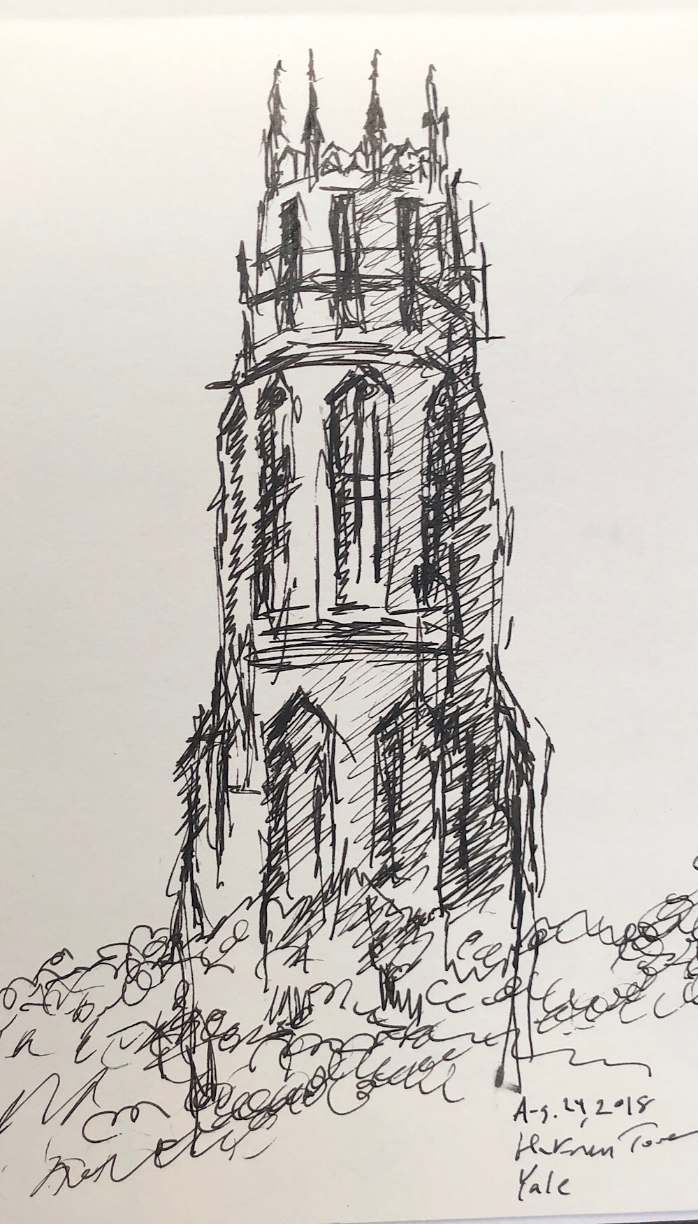 "Geoff Watson, ""Harkness Tower, Yale,"" ink on paper, 5"" x 8,"" 2018."
