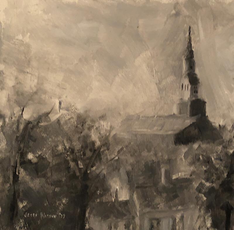 """Geoff Watson, """"Fourth Presbyterian Church, Bethesda,"""" oil on panel, 6"""" x 6,"""" 2017."""