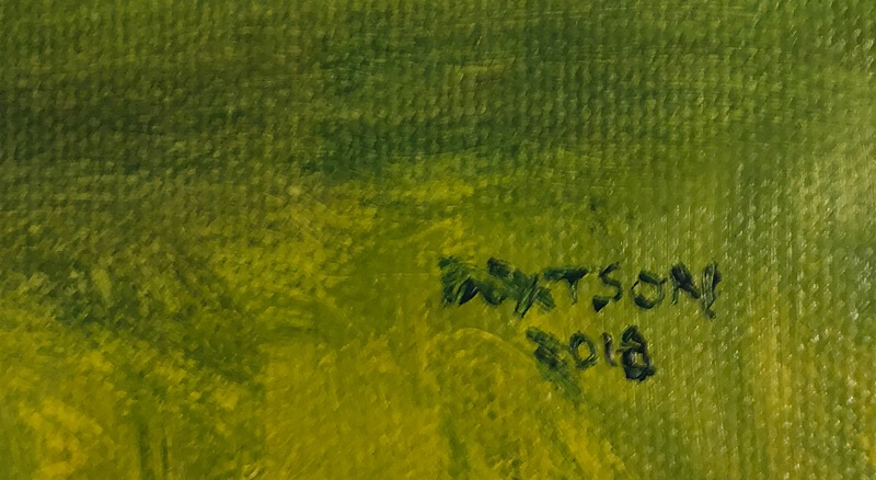 "Geoff Watson, ""Cherry Trees at Peak (detail)"", oil on canvas panel, 16"" x 24,"" 2018."