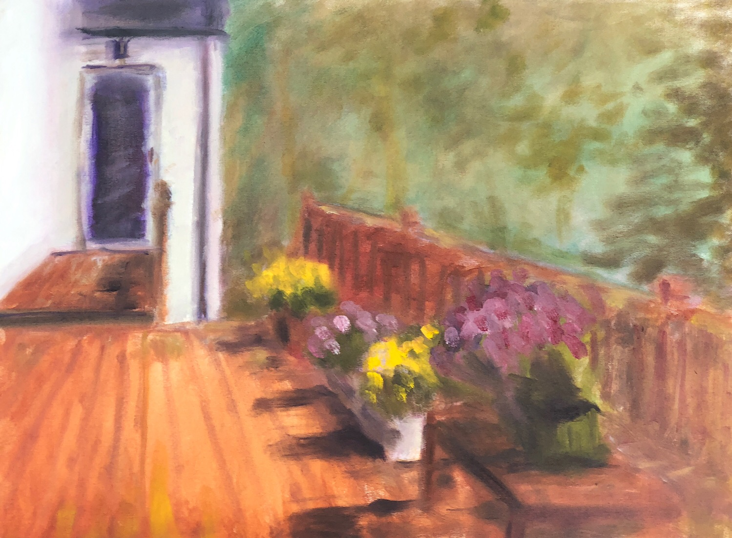 "Geoff Watson, ""Flowers on the Porch,"" oil on canvas, 18"" x 24,"" 2018."