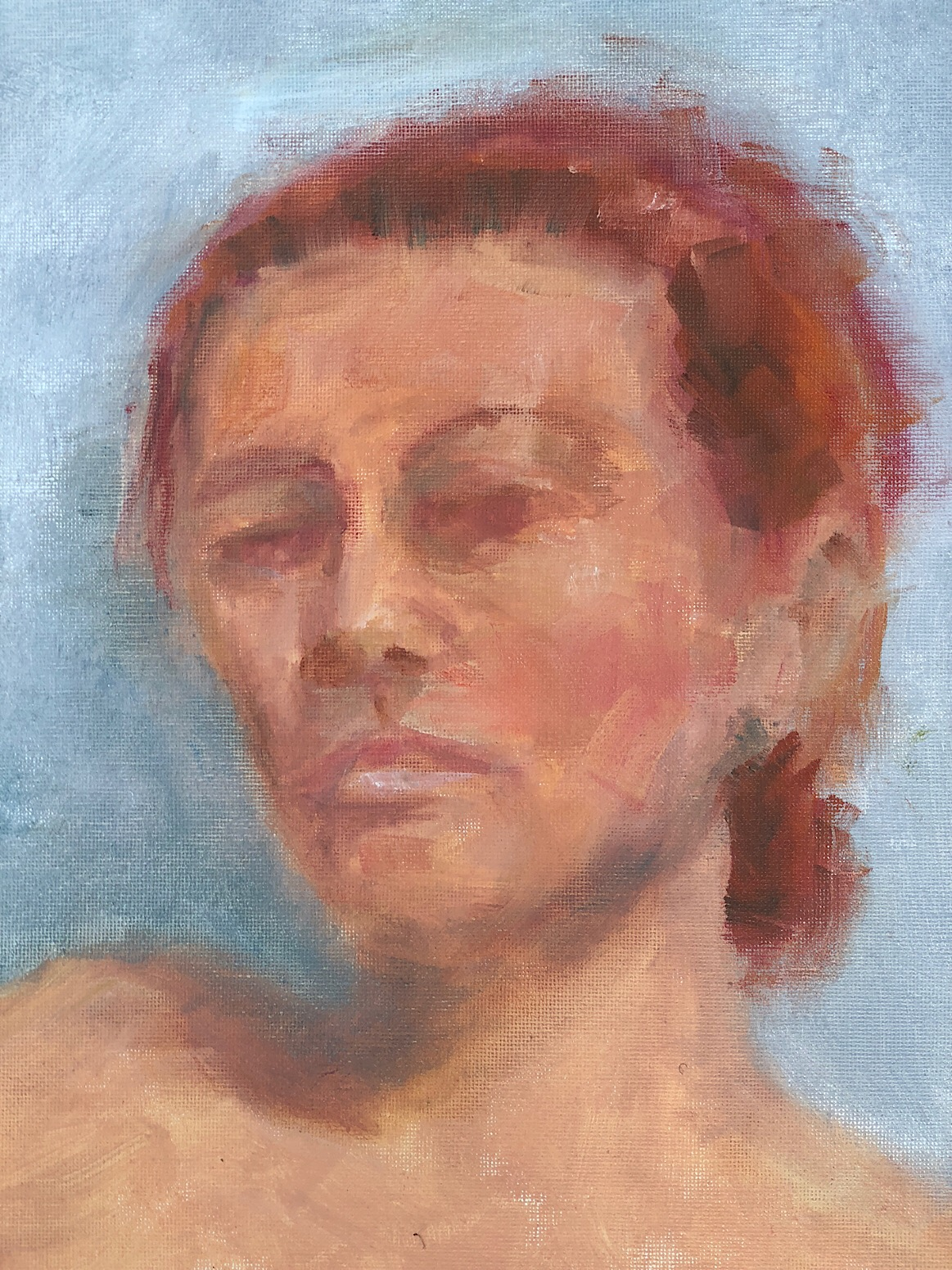 """Geoff Watson, """"Study of Natalya,"""" oil on canvas panel, 11"""" x 14,"""" 2018."""
