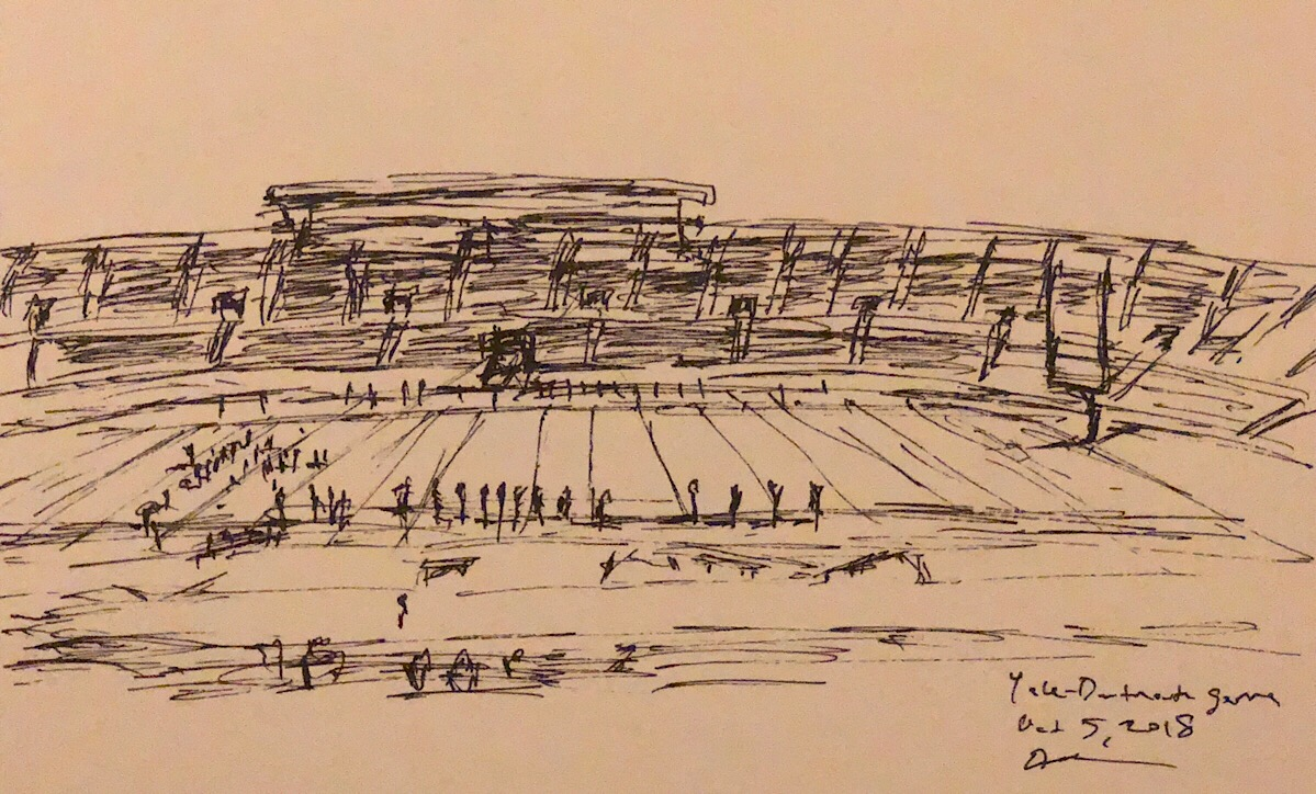 "Geoff Watson, ""Sketch of the Yale Bowl,"" ink on paper, 5"" x 8,"" 2018."