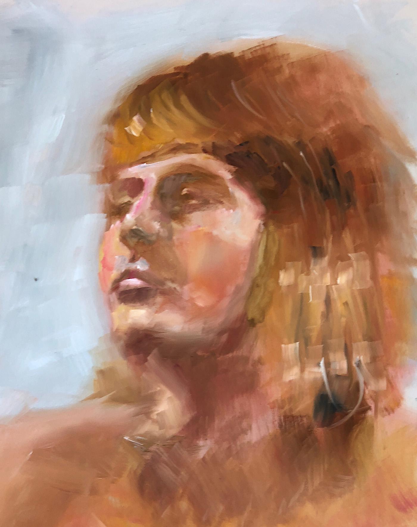 "Geoff Watson, ""Emily looking left,"" oil on panel, 11"" x 14,"" 2018."