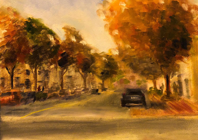 "Geoff Watson, ""Norfolk Street,"" oil on panel, 16"" x 20,"" 2018."