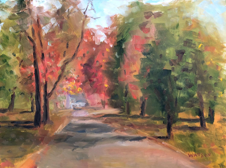 """Geoff Watson, """"Halloween on Exeter Street,"""" oil on panel, 9"""" x 12,"""" 2018."""