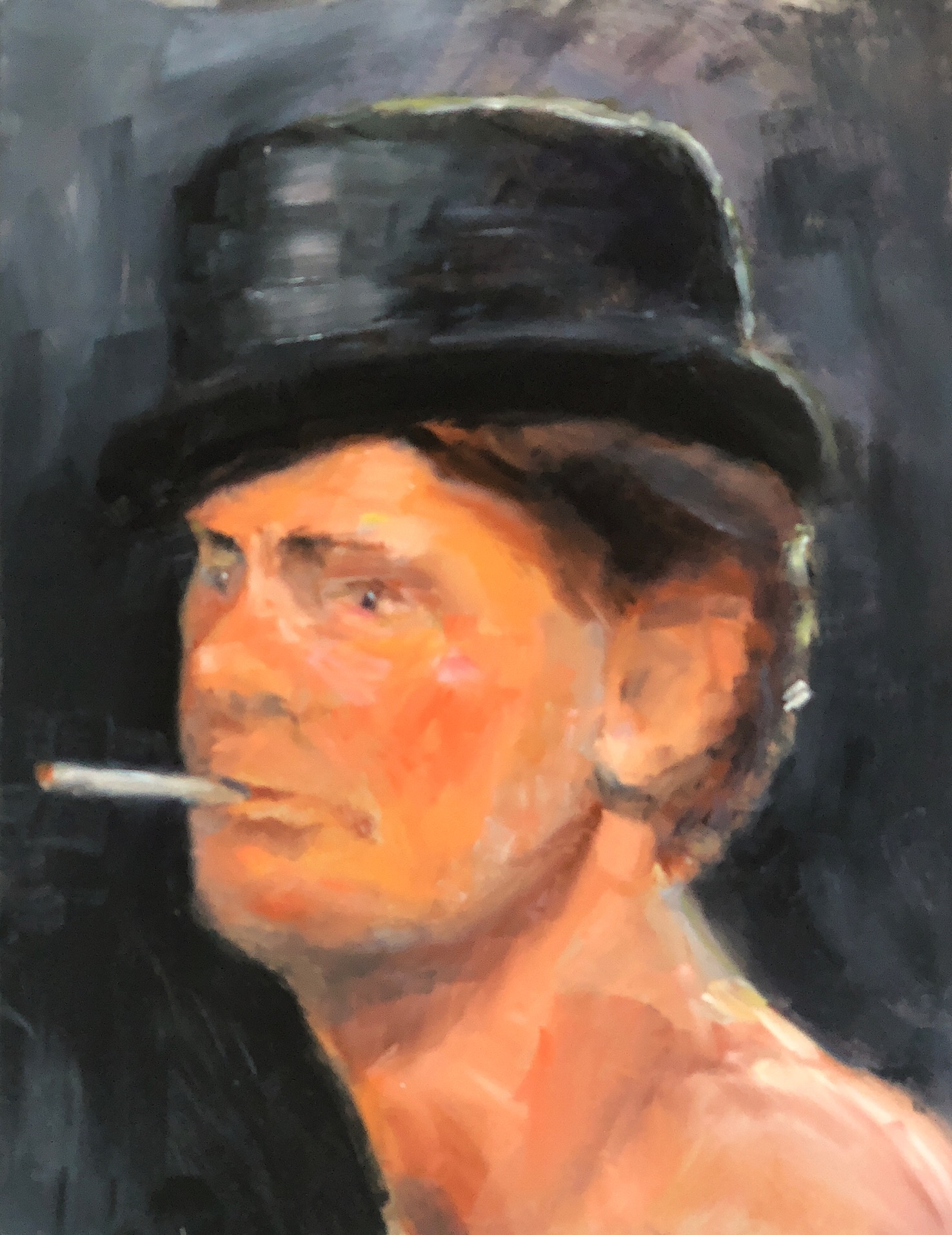 "Geoff Watson, ""Smoking,"" oil on panel, 11"" x 14,"" 2018."