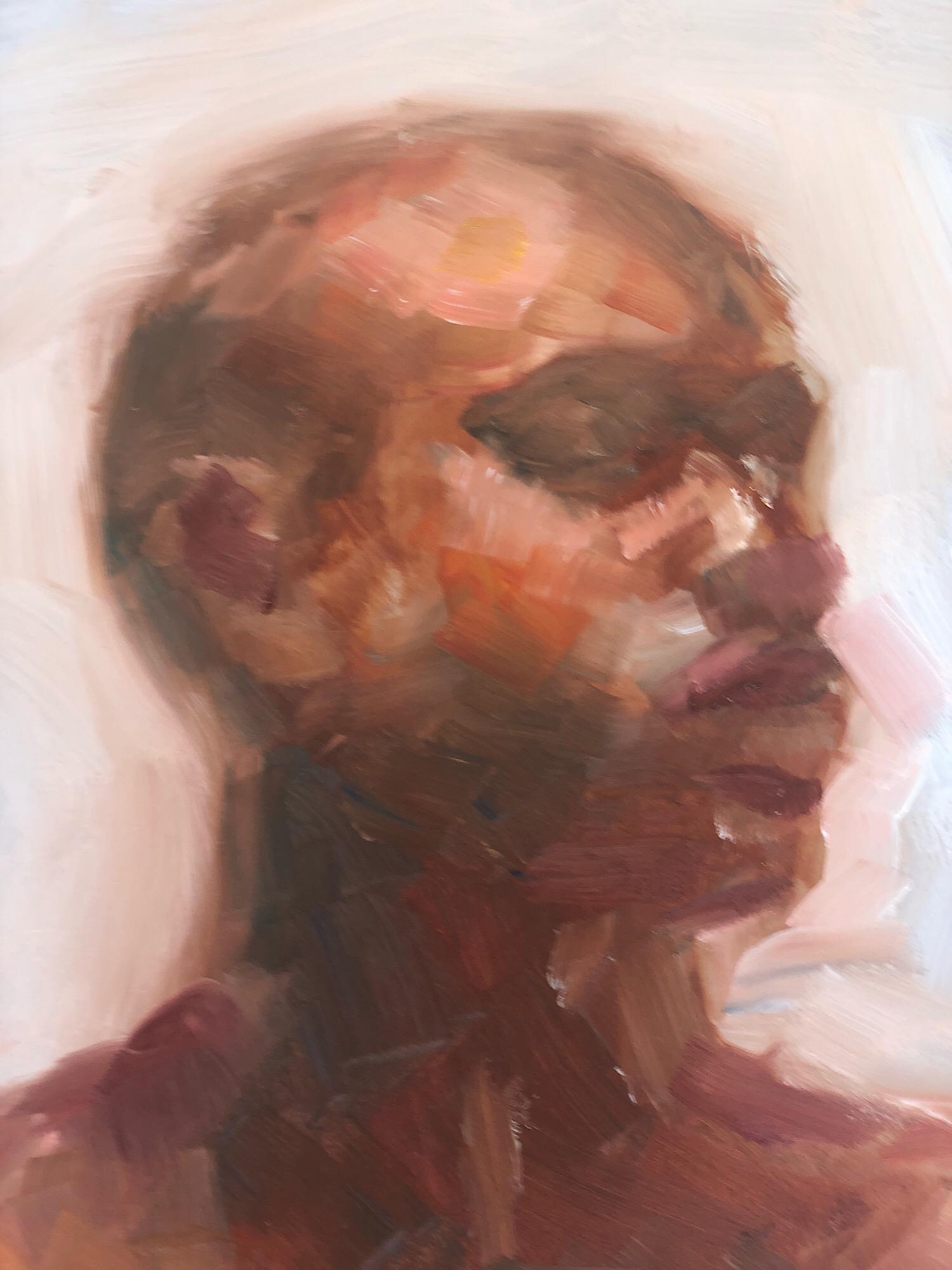 """Geoff Watson, """"Moe,"""" study in progress, oil on panel, 11"""" x 14,"""" 2019."""