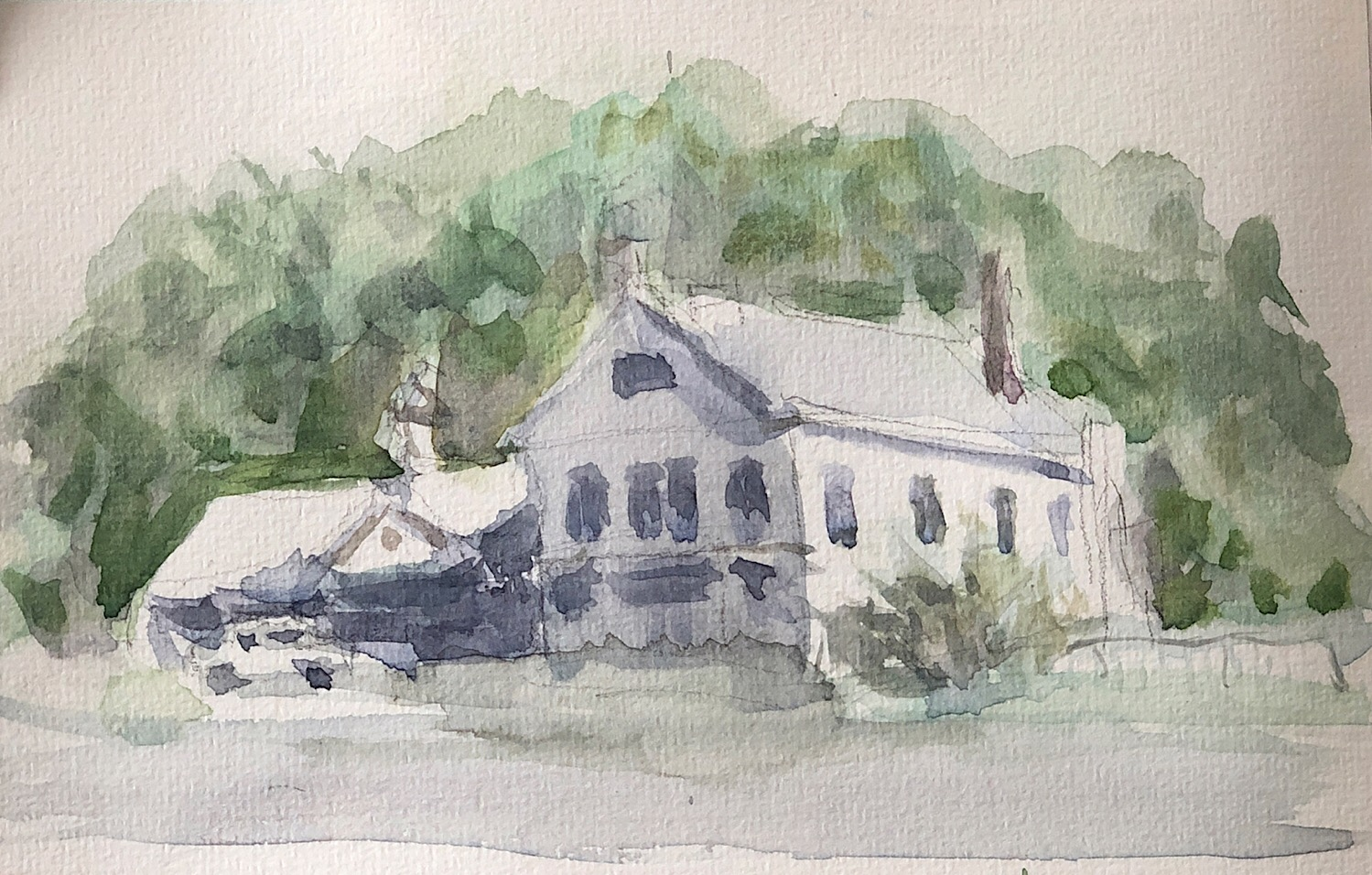 "Geoff Watson, ""Darien shops,"" watercolor on sketchbook paper, about 4"" x 7,"" 2019."