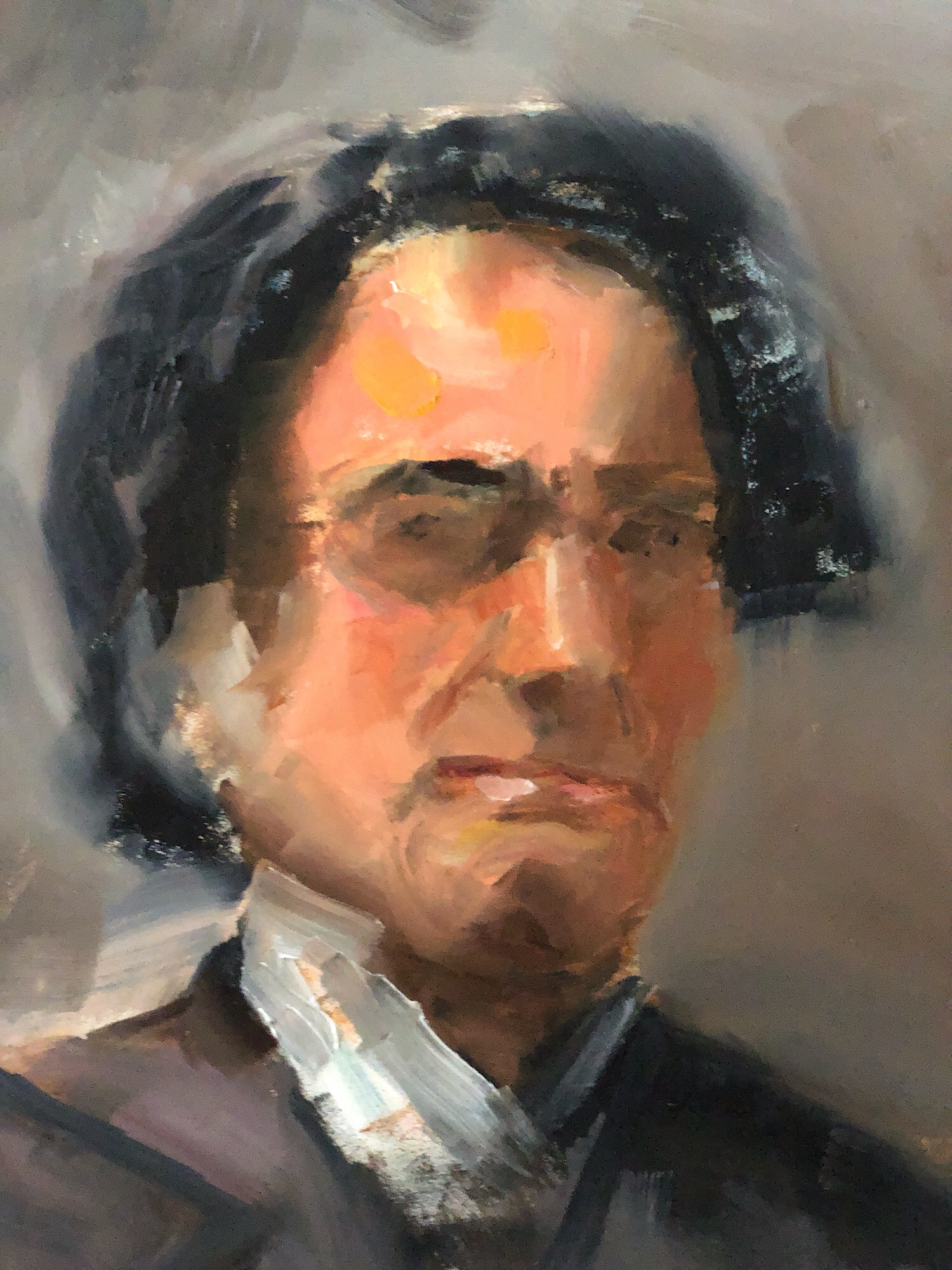 "Geoff Watson, ""A Gentleman (in progress),"" oil on panel, 11"" x 14,"" 2019."