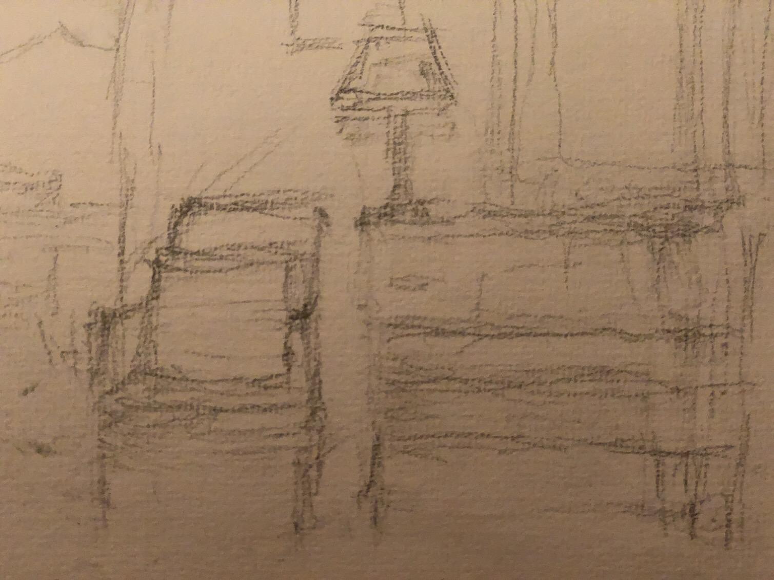 """Geoff Watson, """"Quick interior sketch,"""" graphite on paper, about 5"""" x 8,"""" 2019."""