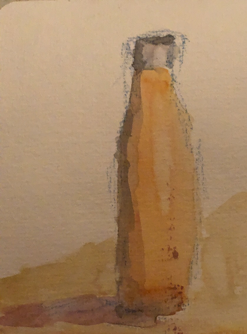 "Geoff Watson, ""Sketch of a water bottle,"" watercolor on paper, about 4"" x 6,"" 2019."