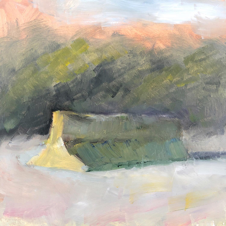 """Geoff Watson, """"Jersey barrier,"""" oil on panel, 8"""" x 8,"""" 2019."""