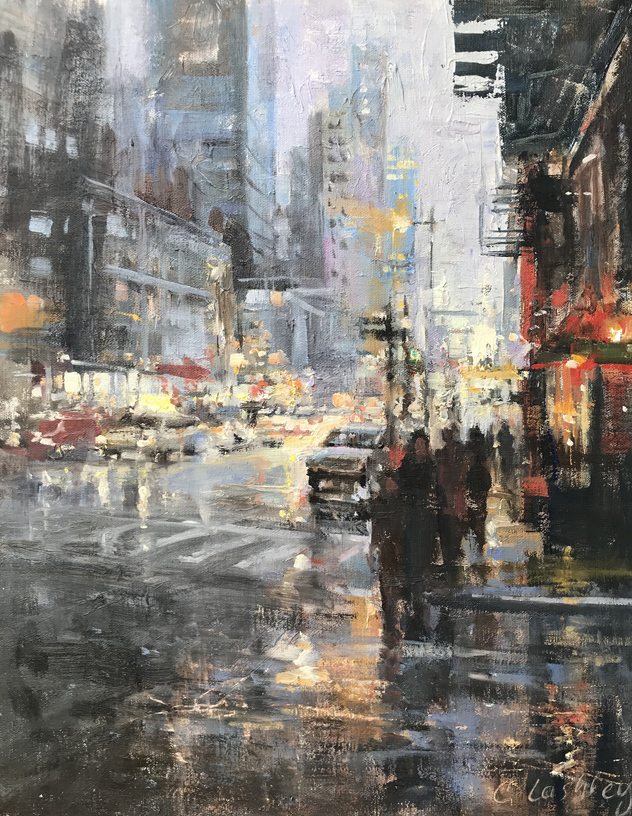 "Christine Lashley, ""City Rhythm,"" oil on panel, 11"" x 14""."""